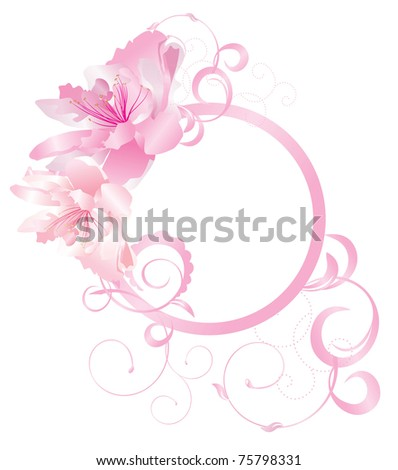 pink circle with flourishes and flowers - stock vector