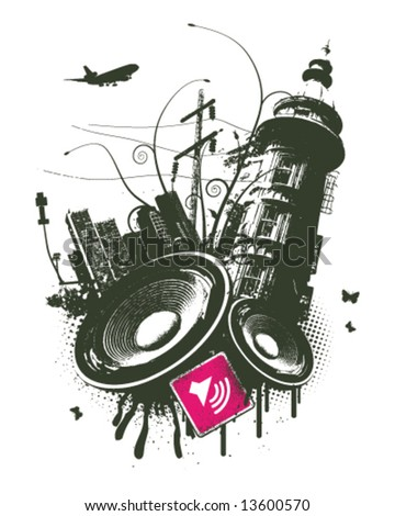 Pink city speaker grunge - stock vector
