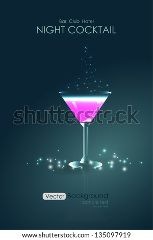 Pink cocktail in a glass goblet - stock vector