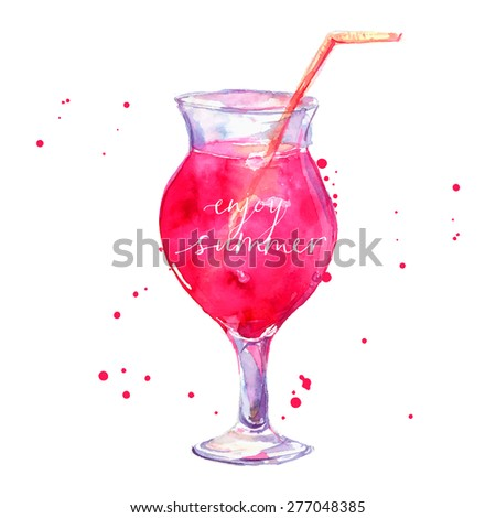 Pink cocktail with text enjoy summer. Vector watercolor illustration. - stock vector