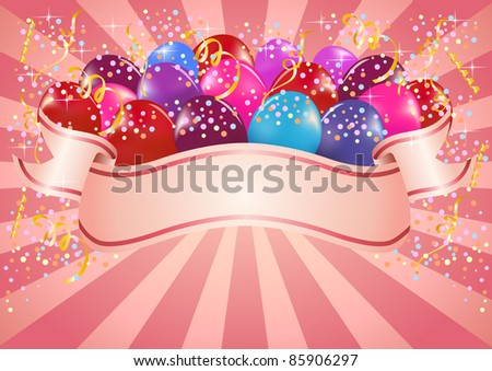 Pink colorful celebration banner with balloons - stock vector