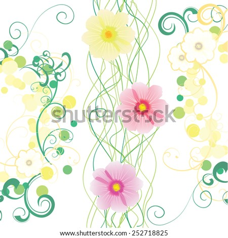 pink cosmos flowers decor abstract - stock vector