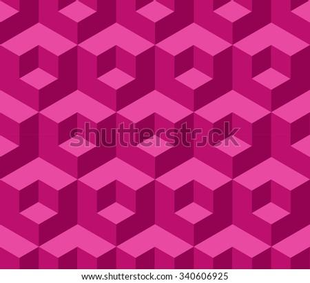 Pink cubic geometric seamless pattern - stock vector