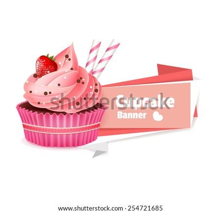 Pink cupcake vector banner  - stock vector