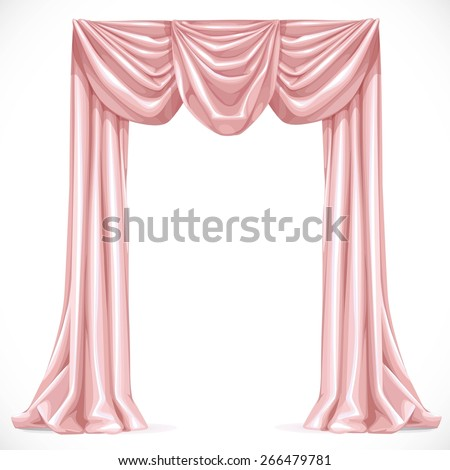 Pink curtain isolated on a white background 1 - stock vector