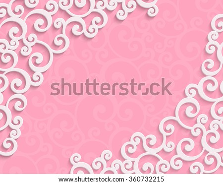 Pink 3d Floral Swirl Horizontal Background with Curl Pattern for Valentines Day or Wedding Invitation Card. Abstract Vector Vintage Design Template - stock vector