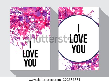 Pink digital watercolor splash background with hand drawn leaves. Inspirational poster. I love you. Artistic vector design for banners, greeting cards, spring sales, posters, invitations. - stock vector