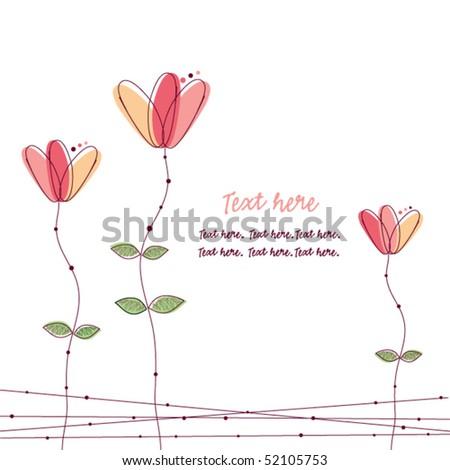 Pink doodle flowers - stock vector