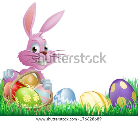 Pink Easter eggs bunny rabbit with a wicker basket full of chocolate painted Easter eggs