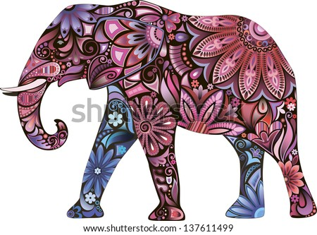 Pink Elephant - stock vector