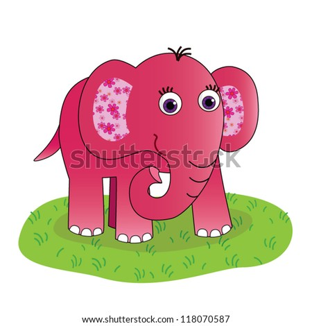 Pink elephant ears flowers on green stock vector 118070587 pink elephant with ears in flowers on the green grass and white background mightylinksfo