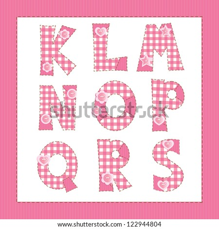 pink fabric alphabet letters k l m n o p