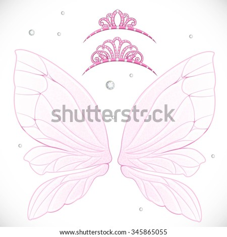 Pink fairy wings with tiara bundled isolated on a white background