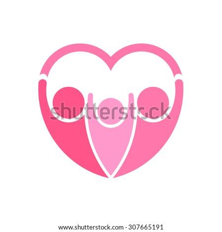 Pink family logo vector. Heart shape - stock vector