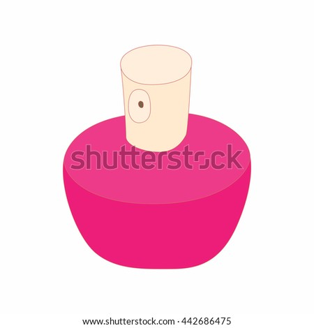 Pink female perfume flacon with sprayer icon in cartoon style on a white background - stock vector