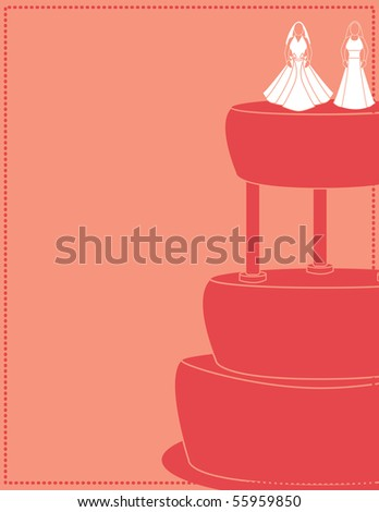 Pink female wedding background 1 - vector