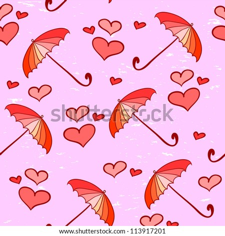 Pink feminine seamless pattern with umbrellas and hearts