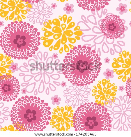 Pink field flowers seamless pattern background - stock vector