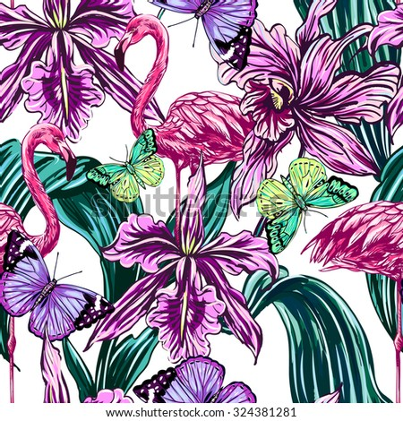 Pink flamingos, exotic birds, butterflies, tropical flowers, leaves, orchid. Beautiful seamless vector floral botanical pattern background - stock vector