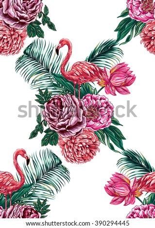 Pink flamingos, flowers, roses, peonies, pink lotus, palm leaves, bouquets. Beautiful seamless vector floral pattern background, wallpaper - stock vector