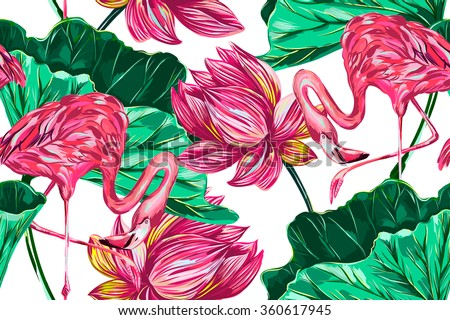 Pink flamingos, tropical flowers, leaves, pink lotus, seamless vector floral pattern background - stock vector