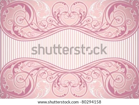 Pink floral background frame - stock vector