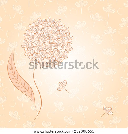 Pink floral background. Invitation card with flower.