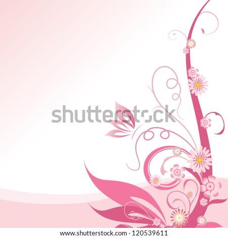 Pink floral corner design element - stock vector