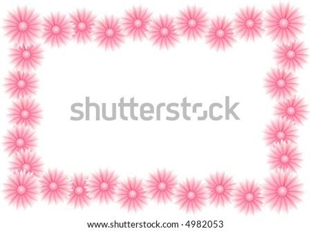 pink floral frame - stock vector