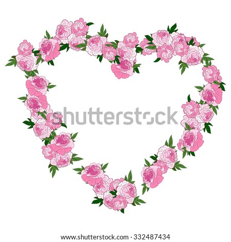 Pink floral heart shape wreath made stock vector royalty free pink floral heart shape wreath made with peonies frame or border of flowers isolated on mightylinksfo
