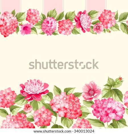 Pink Flower Border With Tile Elegant Vintage Card Design Roses Floral Wallpaper