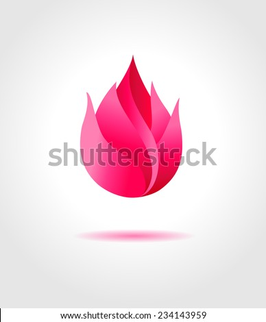 Pink flower. Flower abstract symbol - stock vector