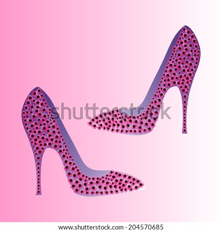 Pink flower shoes vector - stock vector