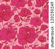 Pink flowers and leaves seamless pattern background - stock vector