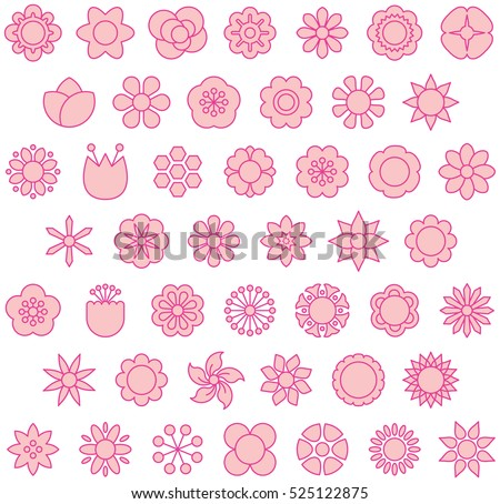 PINK FLOWERS filled line icons