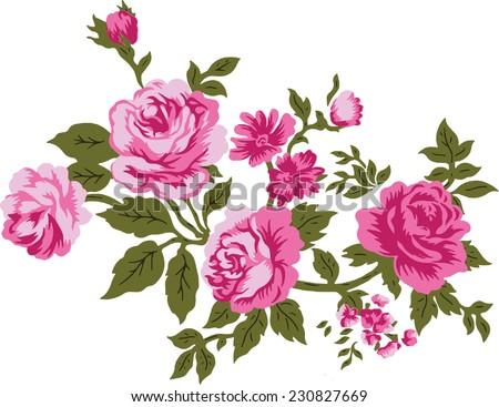 Pink flowers of bouquet. - stock vector
