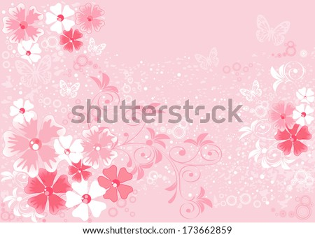 pink flowers sakura, illustrations - stock vector