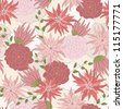 Pink flowers seamless pattern - stock vector