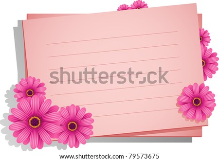 Pink flowers with a card for your text - stock vector