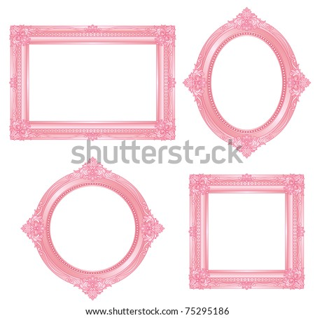 pink frame - stock vector