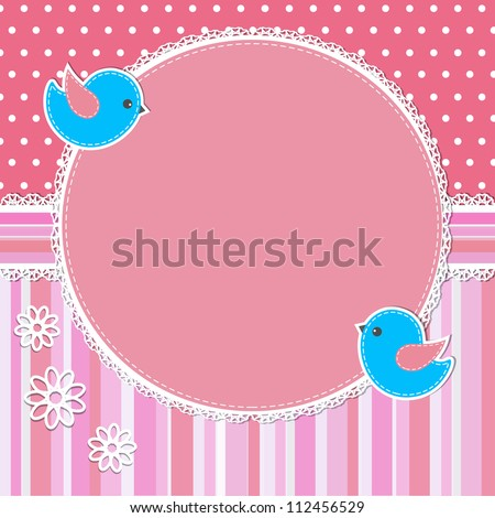 Pink frame with birds and flowers - stock vector