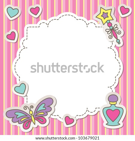 pink frame with cartoon butterfly, perfume bottle and wand - stock vector