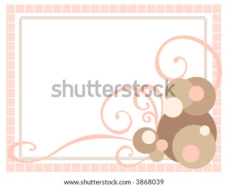 Pink Frame with Swirls and Spots - stock vector