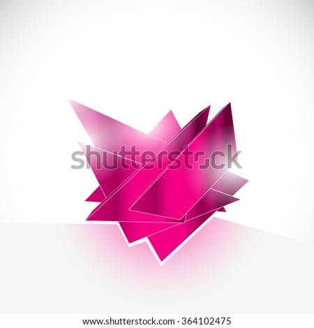 pink gem amethyst shard crystal icon logo vector template - stock vector