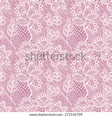 Pink gentle seamless floral lace pattern, vintage background - stock vector