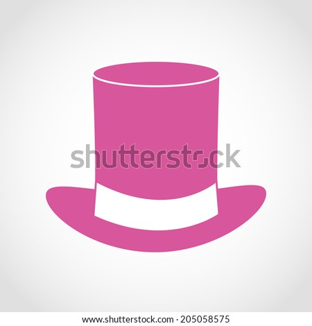 Pink gentleman hat Icon Isolated on White Background - stock vector