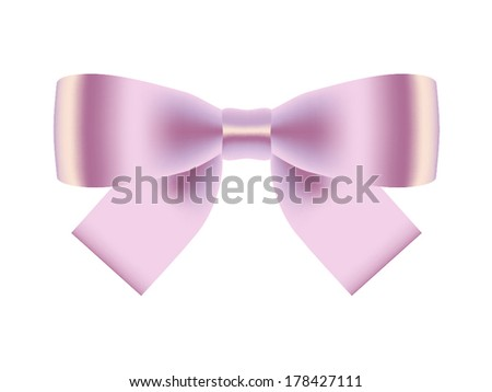 Pink gift bow isolated on white. Vector illustration - stock vector