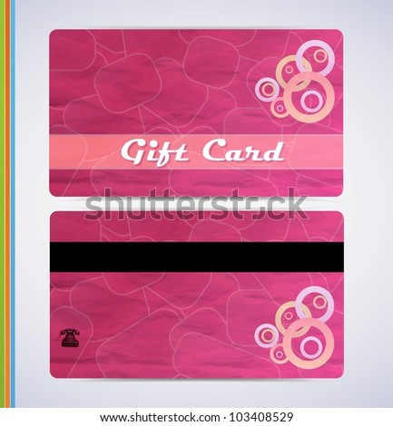 Pink Gift Card - stock vector