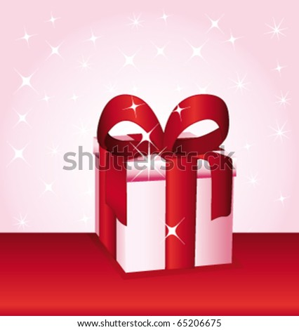 Pink gift with red bow. Present vector illustration. - stock vector