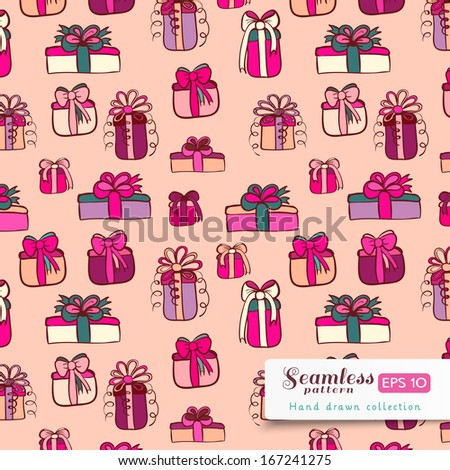 Pink gifts on light pink background. Vector hand drawn seamless pattern.
